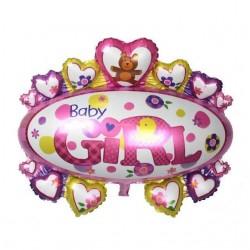 Balon figurina folie metalizata Mare Botez Fetita, Medalion Baby Girl...