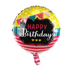 Balon folie metalizata Happy Birthday, Rotund Multicolor