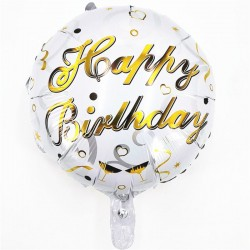copy of Balon folie metalizata Happy Birthday, Rotund Alb cu Auriu