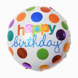 Balon folie metalizata Happy Birthday, Rotund cu buline Multicolor