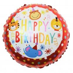Balon folie metalizata Happy Birthday, Rotund cu Animale de Jungla