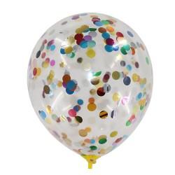 Baloane transparente din latex cu confetti multicolor 30 cm