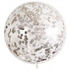 Baloane transparente jumbo din latex cu confetti argintii 45 cm