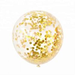Baloane transparente jumbo urias din latex cu confetti aurii 90 cm