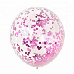 Baloan transparent jumbo urias din latex cu confetti Roz 90 cm