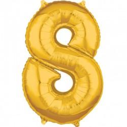 Balon Folie Cifra 8 Auriu 1m