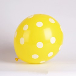 Baloane galbene din latex cu buline albe, 30 cm, 1buc.