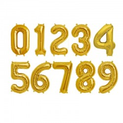 Balon folie Cifra auriu 0-9, 35 cm, 1 buc.