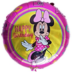 Balon Folie metalizata Minnie Mouse, 45 cm, Happy Birthday