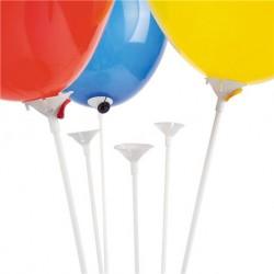 Bete si rozete albe din plastic pentru baloane - 30 cm