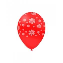 Baloane Latex Rosii 28, de 30 cm. inscriptionate cu fulgi albi de zăpadă