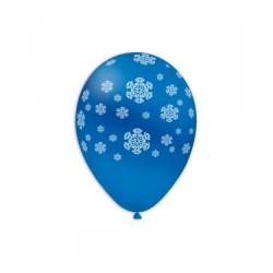 Baloane Latex Albastre 52, de 30 cm. inscriptionate cu fulgi albi de zăpadă
