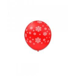 Baloane Latex Rosii 28, de 13 cm. inscriptionate cu fulgi albi de zăpadă