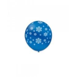 Baloane Latex Albastre 52, de 13 cm. inscriptionate cu fulgi albi de zăpadă
