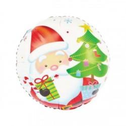 Balon Folie Metalizată Rotund cu Moș Crăciun, 45 cm, Rocca Fun Factory