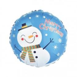 Balon Folie Metalizată Rotund cu Om de Zăpadă, 45 cm, Merry Christmas,...