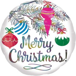Balon Folie Iridiscent Merry Christmas - 45 cm, Amscan 4009601