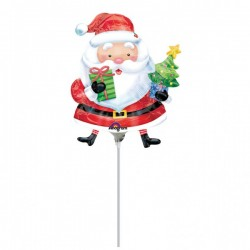 "Balon Folie Mini Figurina Mos Craciun, 23 cm, Amscan ""Santa with Tree""..."