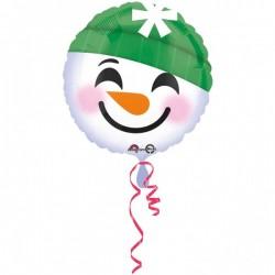 """Balon Folie Rotund Emoticon Om de Zapada, 43 cm, Amscan """"Snowman..."""
