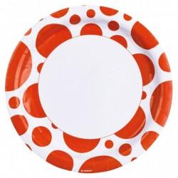 8 Farfurii 22,8 cm cu buline portocalii, Orange Dots, Amscan 999316