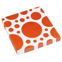 20 Șervețele 33 X 33 cm cu buline portocalii, Orange Dots, Amscan...