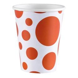 8 Pahare 266 ml. cu buline portocalii, Orange Dots, Amscan 999322