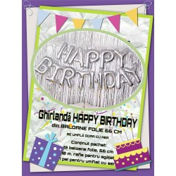 "Ghirlanda ""HAPPY BIRTHDAY"" din Baloane Folie Argintii, 66cm"