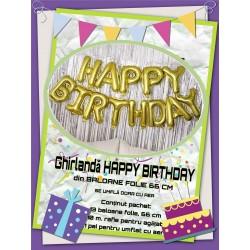"Ghirlanda ""HAPPY BIRTHDAY"" din Baloane Folie Aurii, 66cm"
