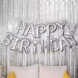 "Ghirlanda uriasa ""HAPPY BIRTHDAY"" din Baloane Folie Argintii, 66cm"