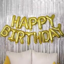 "Ghirlanda uriasa ""HAPPY BIRTHDAY"" din Baloane Folie Aurii, 66cm"