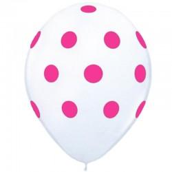 Baloane albe din latex cu buline fucsia, 30 cm, 1buc.