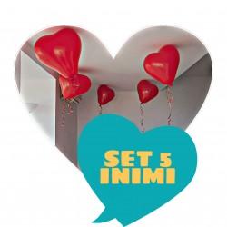 Set 5 baloane inima Valentine's Day / Dragobete