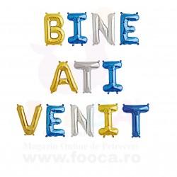 "SET 12 Baloane Folie ""BINE ATI VENIT"", 35cm FooCA, Albastru si Diverse..."