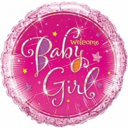 Balon holografic folie roz cu sclipici Botez Fetita, Welcome Baby Girl,...
