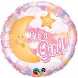 Balon folie pentru Botez Fetita, It's a Girl cu luna si stele, 45cm