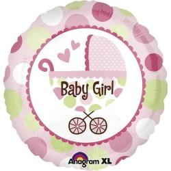Balon folie Baby Girl cu carucior, Botez Fetita, 45cm