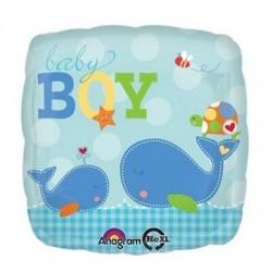 Balon patrat folie Baby Boy, Botez Baietel, cu balene, 45cm