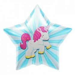Balon Folie Stea cu Unicorn, 55 x 55 cm