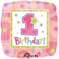 Balon Folie 45 cm 1st Birthday Mot Fetita