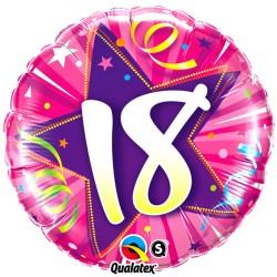Balon roz din folie pentru majorat inscriptionat cu cifra18