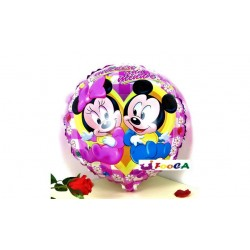 Balon folie roz cu Baby Minnie si Mickey Mouse, 45cm