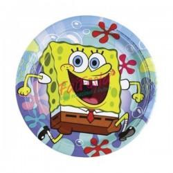 Set 8 farfurii Sponge Bob - petrecere copii, 18 cm, Rocca Fun Factory