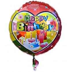 Balon folie metalizata Happy Birthday, cu tort, Multicolor