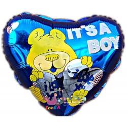 Balon Folie Inima It's a Boy - I love You, Teddy Bear, 45cm