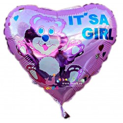 Balon folie metalizata inima, Botez Fetita, It's a Girl cu Ursulet, 45cm