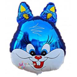 Balon Folie Metalizata, Cap de Iepuras Albastru, 48cm