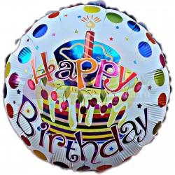 Balon folie metalizata Happy Birthday, cu tort cu buline, 45cm