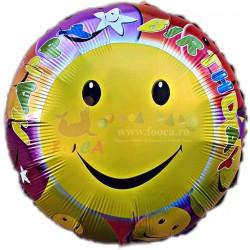 Balon folie metalizata Happy Birthday Smiley Face, 45cm