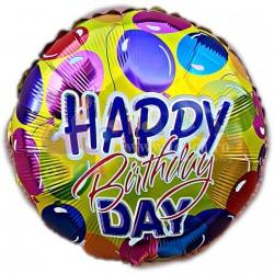 Balon folie metalizata Happy Birthday cu Baloane, 45cm