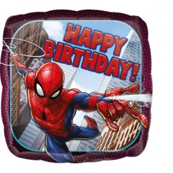 Balon folie metalizata 43cm, SpiderMan Happy Birthday, Amscan 3466401